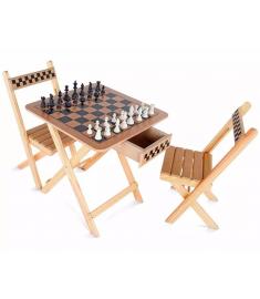 Mesa de Xadrez e Dama com Gaveta - 2 Cadeiras - Madeira e MDF - 5019