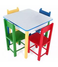 Mesa Infantil Carlu em Madeira e MDF - Com 4 Cadeiras - 5017