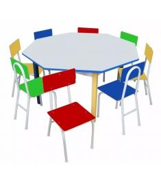 Mesa Infantil Oitavada Carlu em Ferro - Com 8 Cadeiras 1738