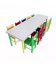 Mesa Infantil Colorida Refeitório Carlu - Com 10 Cadeiras 5021